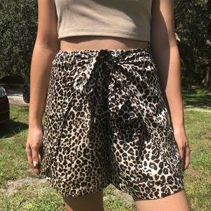 Leopard print high waisted shorts